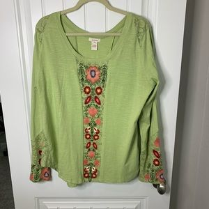 Sundance lace embroidery floral scoop neck top XL